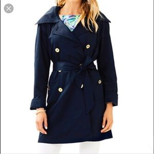 Lilly Pulitzer Navy Trench Coat